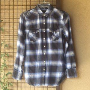 {True Religion}Sz XS Worn-in Long Sleeve Flannel